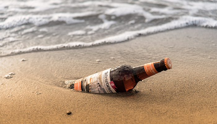 Beer bottle at the beach