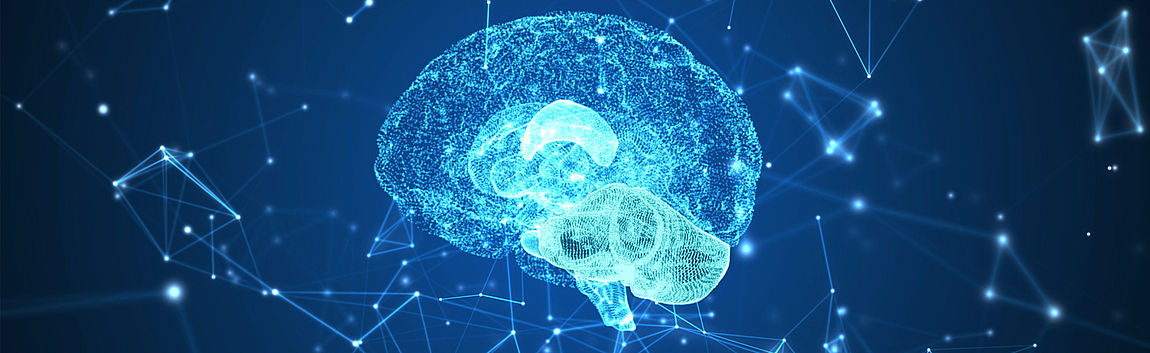 Human brain connected and surrounded by data streams.