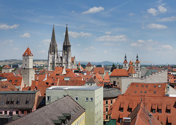 SYSKRON location Regensburg Citycenter: Houseroofs of Regensburg and St. Peter Cathedral.