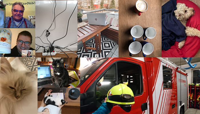 Photo collage with impressions from the home office, including cats, fire truck, coffee machine and balcony.