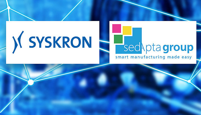 SYSKRON Logo and SedApta Logo, blue background with data streams